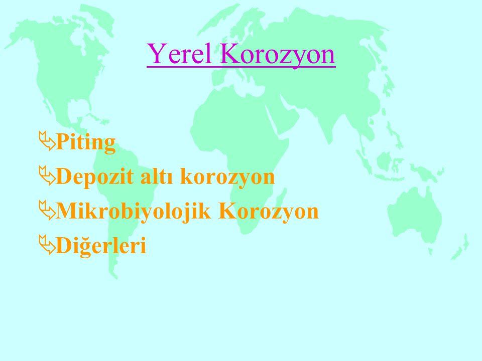 Yerel Korozyon Piting Depozit altı korozyon Mikrobiyolojik Korozyon