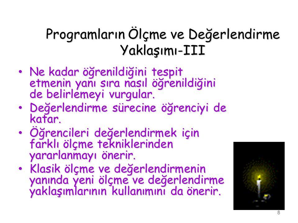 Programların Ölçme ve Değerlendirme Yaklaşımı-III