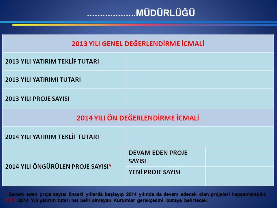 2013 YILI GENEL DEĞERLENDİRME İCMALİ 2014 YILI ÖN DEĞERLENDİRME İCMALİ