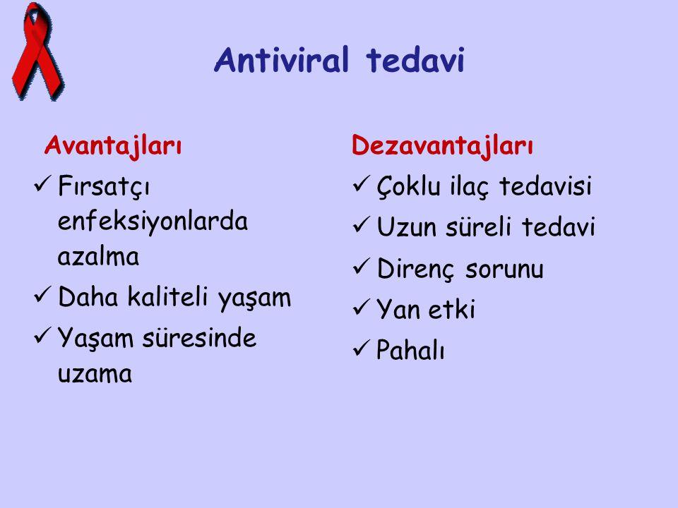 Antiviral tedavi Avantajları Fırsatçı enfeksiyonlarda azalma