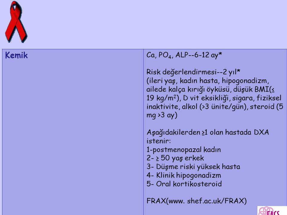 Kemik Ca, PO4, ALP--6-12 ay* Risk değerlendirmesi--2 yıl*