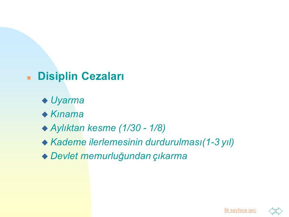 Disiplin Cezaları Uyarma Kınama Aylıktan kesme (1/30 - 1/8)