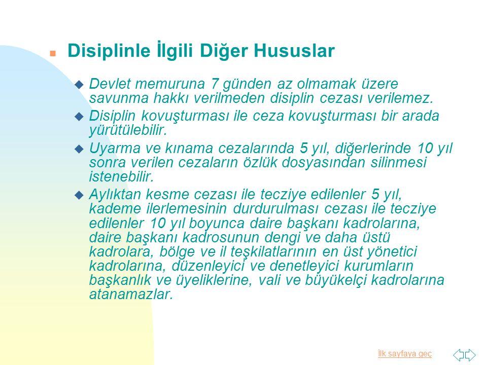 Disiplinle İlgili Diğer Hususlar