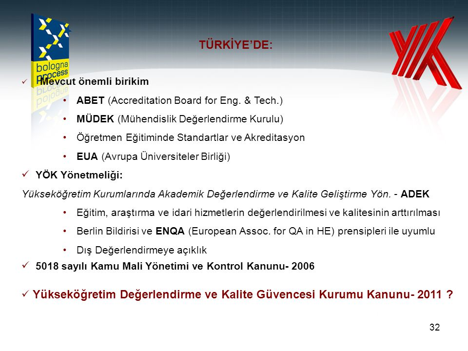 TÜRKİYE'DE: ABET (Accreditation Board for Eng. & Tech.)