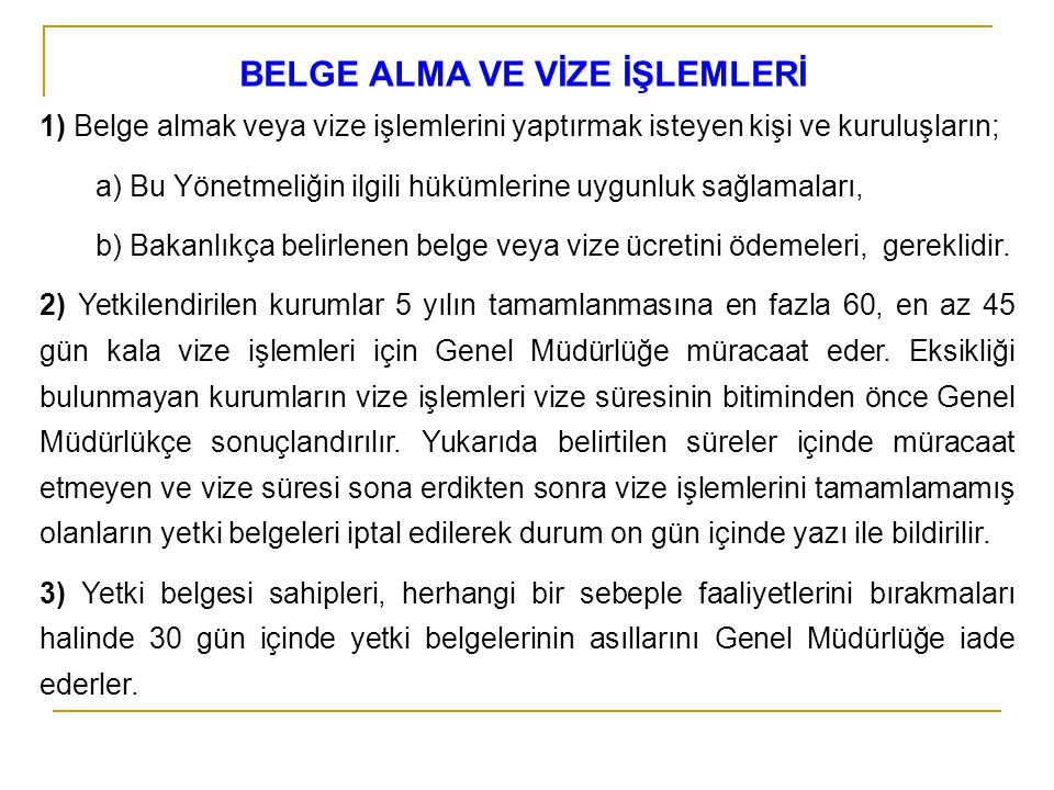 BELGE ALMA VE VİZE İŞLEMLERİ