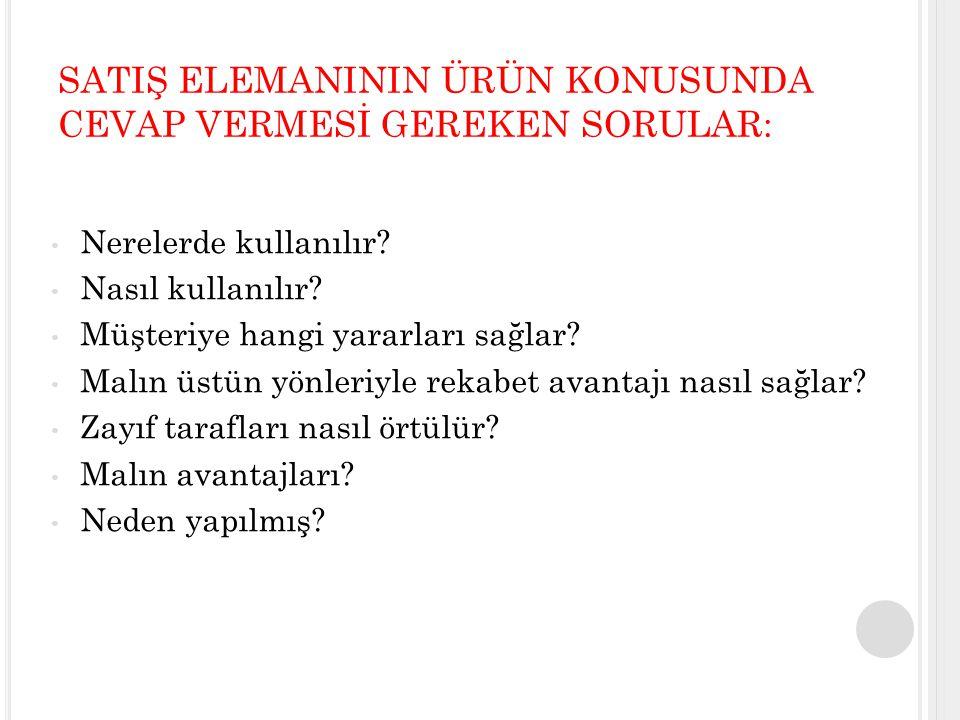 SATIŞ ELEMANININ ÜRÜN KONUSUNDA CEVAP VERMESİ GEREKEN SORULAR:
