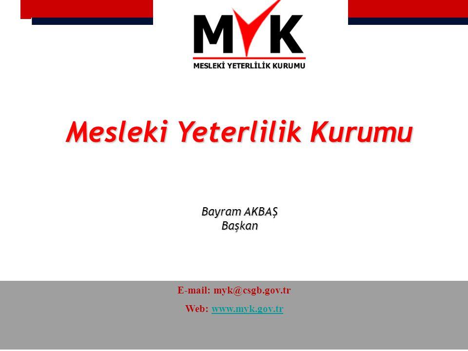 Mesleki Yeterlilik Kurumu E-mail: myk@csgb.gov.tr