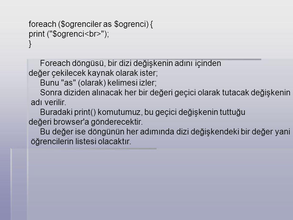 foreach ($ogrenciler as $ogrenci) { print ( $ogrenci<br> ); }