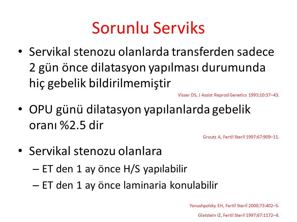Sorunlu Serviks Servikal stenozu olanlarda transferden sadece 2 gün önce dilatasyon yapılması durumunda hiç gebelik bildirilmemiştir.