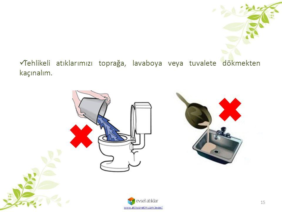 Tehlikeli atıklarımızı toprağa, lavaboya veya tuvalete dökmekten kaçınalım.