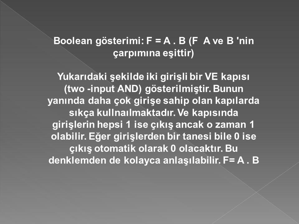 Boolean gösterimi: F = A . B (F A ve B nin çarpımına eşittir)