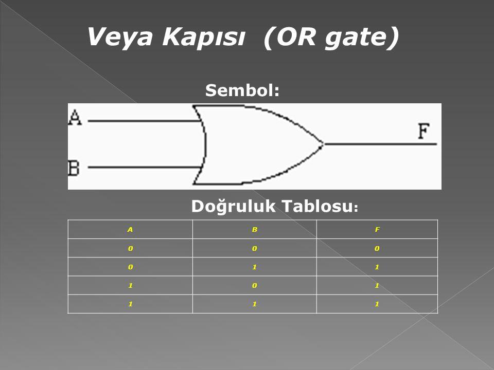 Veya Kapısı (OR gate) Sembol: Doğruluk Tablosu: A B F 1