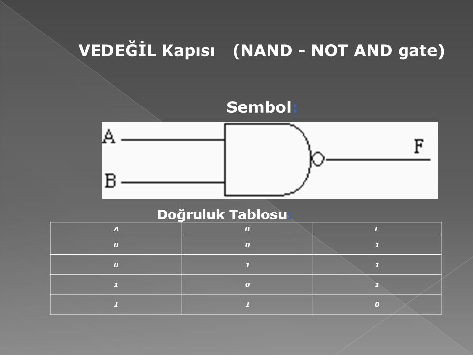 VEDEĞİL Kapısı (NAND - NOT AND gate)