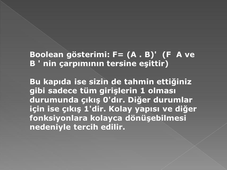 Boolean gösterimi: F= (A