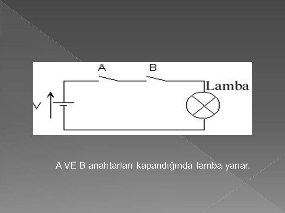 A VE B anahtarları kapandığında lamba yanar.