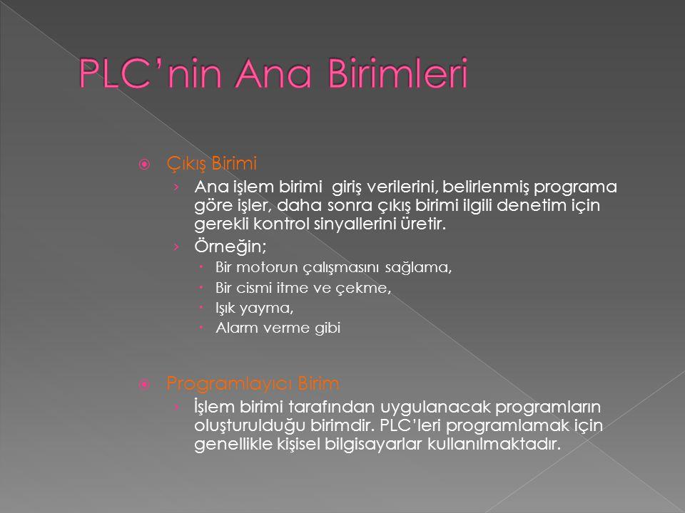 PLC'nin Ana Birimleri Çıkış Birimi Programlayıcı Birim