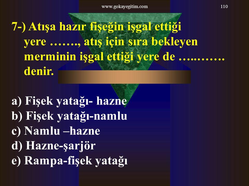 www.gokayegitim.com 7-) Atışa hazır fişeğin işgal ettiği yere ……., atış için sıra bekleyen merminin işgal ettiği yere de …..……. denir.