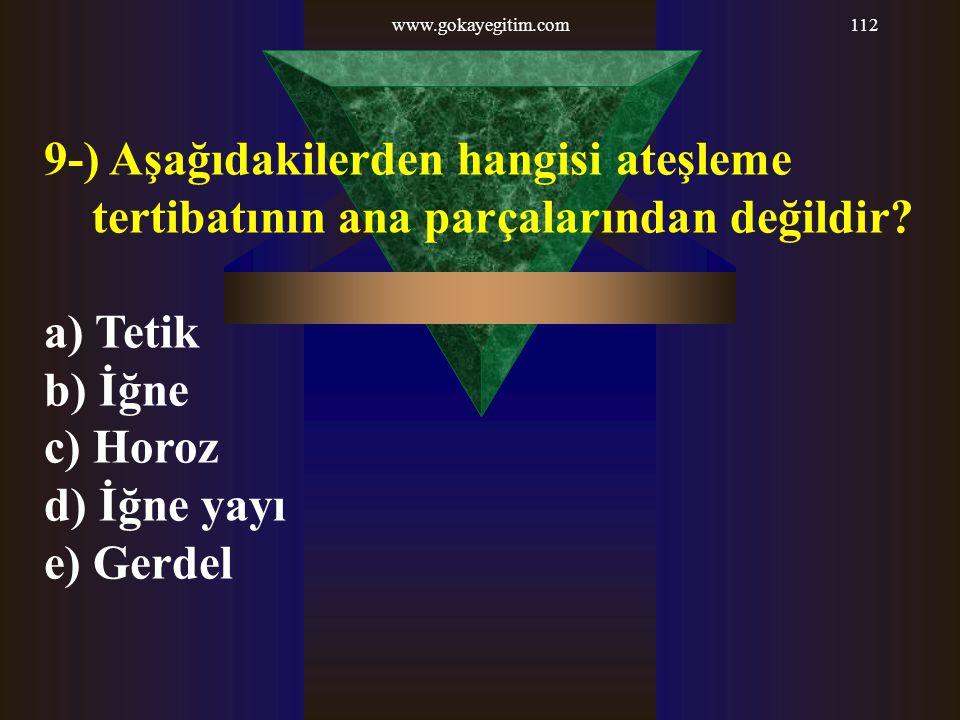 www.gokayegitim.com 9-) Aşağıdakilerden hangisi ateşleme tertibatının ana parçalarından değildir a) Tetik.