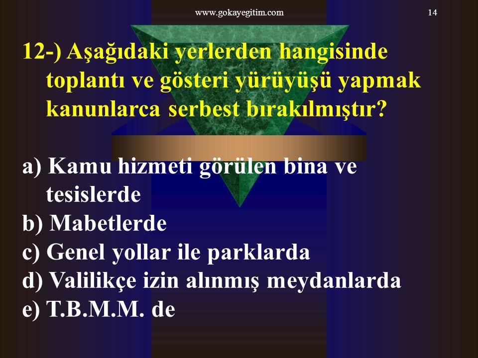 a) Kamu hizmeti görülen bina ve tesislerde b) Mabetlerde