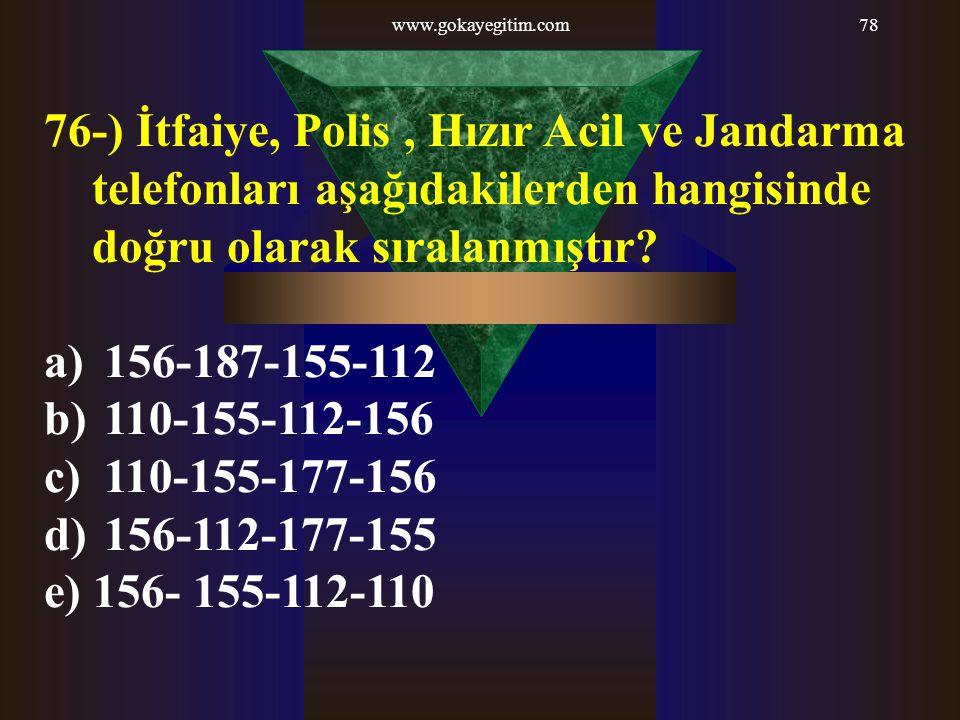 www.gokayegitim.com 76-) İtfaiye, Polis , Hızır Acil ve Jandarma telefonları aşağıdakilerden hangisinde doğru olarak sıralanmıştır
