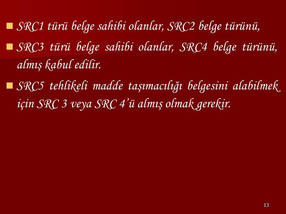 SRC1 türü belge sahibi olanlar, SRC2 belge türünü,