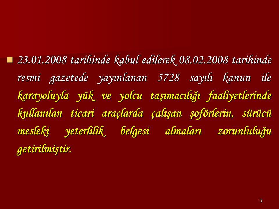 23. 01. 2008 tarihinde kabul edilerek 08. 02