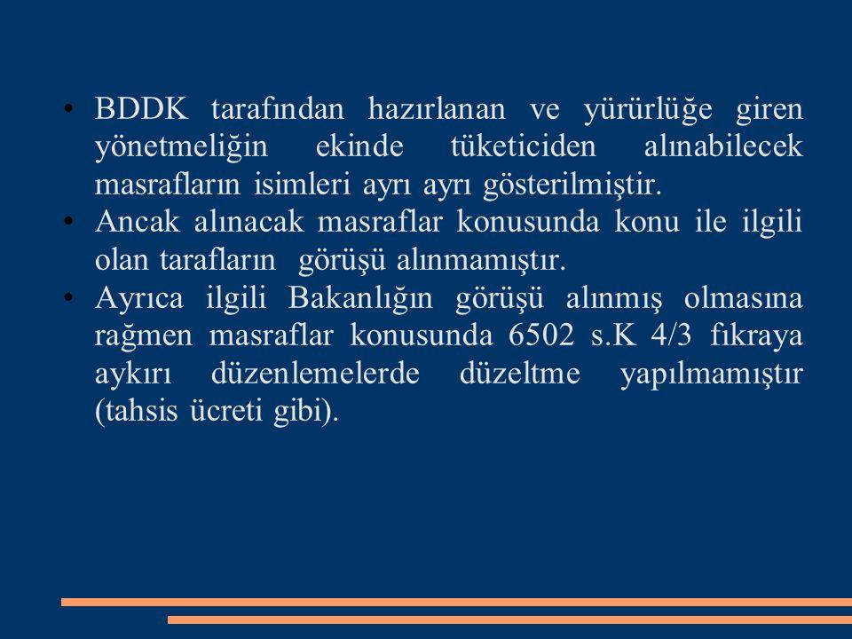 BDDK tarafından hazırlanan ve yürürlüğe giren yönetmeliğin ekinde tüketiciden alınabilecek masrafların isimleri ayrı ayrı gösterilmiştir.