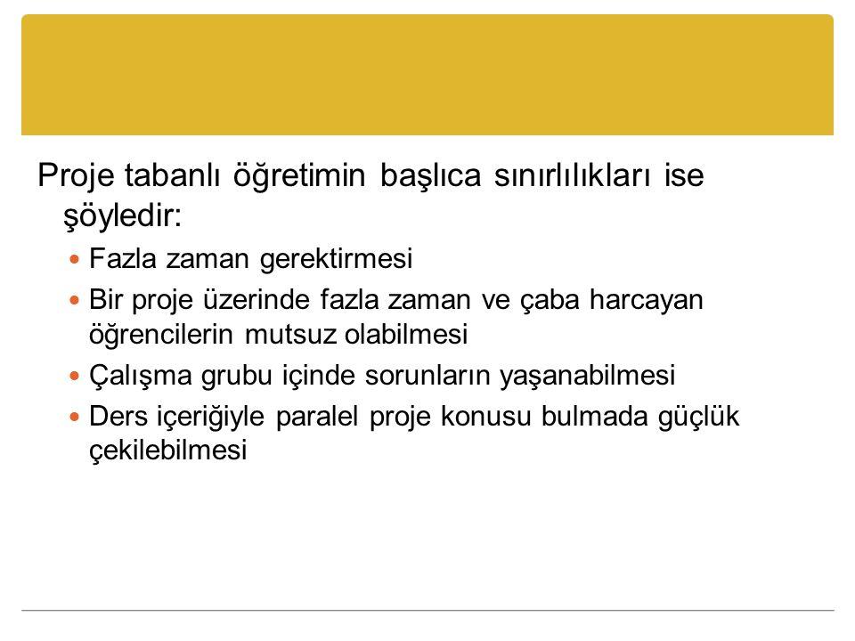 Proje tabanlı öğretimin başlıca sınırlılıkları ise şöyledir: