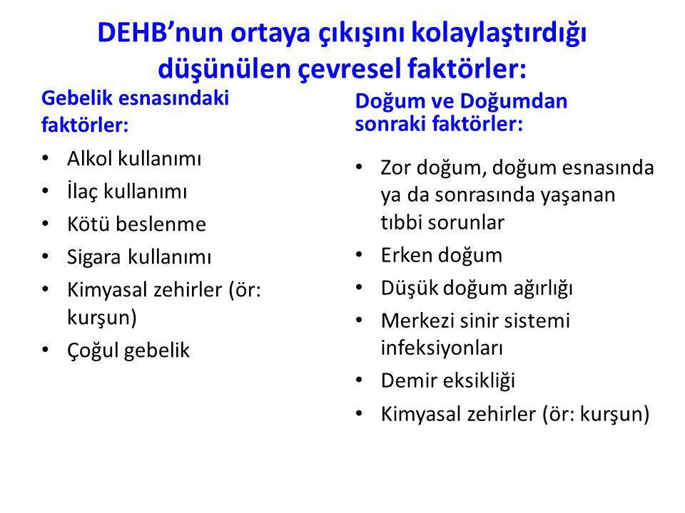 DEHB'nun ortaya çıkışını kolaylaştırdığı düşünülen çevresel faktörler: