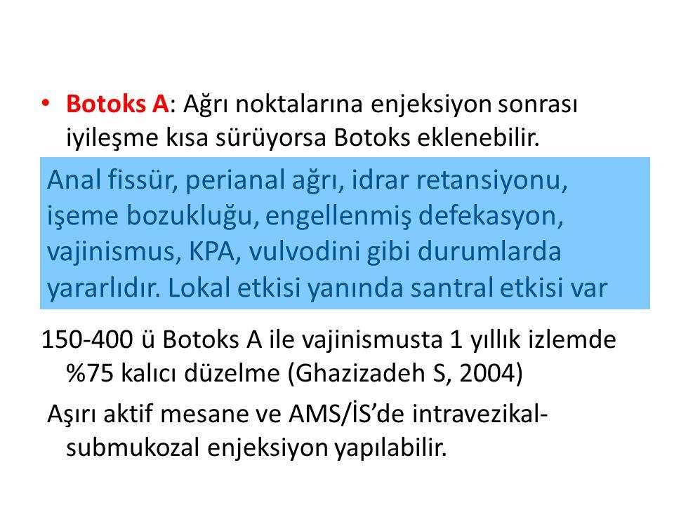 Botoks A: Ağrı noktalarına enjeksiyon sonrası iyileşme kısa sürüyorsa Botoks eklenebilir.