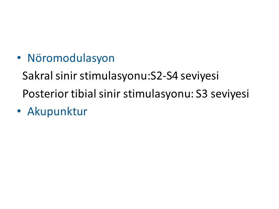 Nöromodulasyon Sakral sinir stimulasyonu:S2-S4 seviyesi. Posterior tibial sinir stimulasyonu: S3 seviyesi.