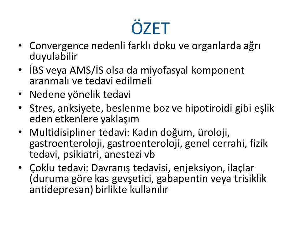 ÖZET Convergence nedenli farklı doku ve organlarda ağrı duyulabilir