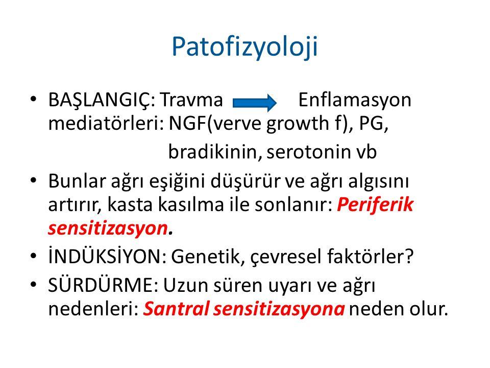 Patofizyoloji BAŞLANGIÇ: Travma Enflamasyon mediatörleri: NGF(verve growth f), PG, bradikinin, serotonin vb.