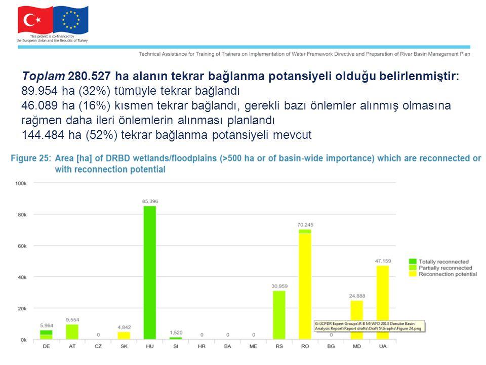 Toplam 280.527 ha alanın tekrar bağlanma potansiyeli olduğu belirlenmiştir: