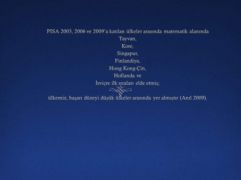 PISA 2003, 2006 ve 2009'a katılan ülkeler arasında matematik alanında