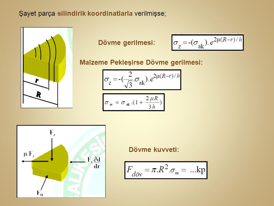 Şayet parça silindirik koordinatlarla verilmişse;