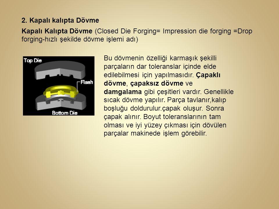 2. Kapalı kalıpta Dövme Kapalı Kalıpta Dövme (Closed Die Forging= Impression die forging =Drop forging-hızlı şekilde dövme işlemi adı)