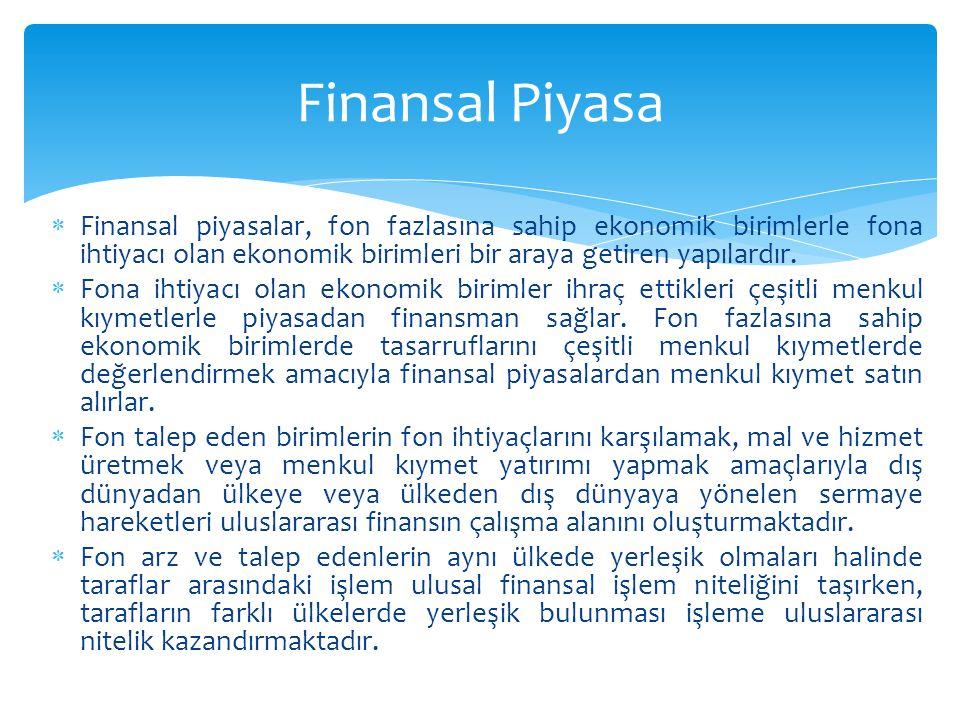 Finansal Piyasa Finansal piyasalar, fon fazlasına sahip ekonomik birimlerle fona ihtiyacı olan ekonomik birimleri bir araya getiren yapılardır.