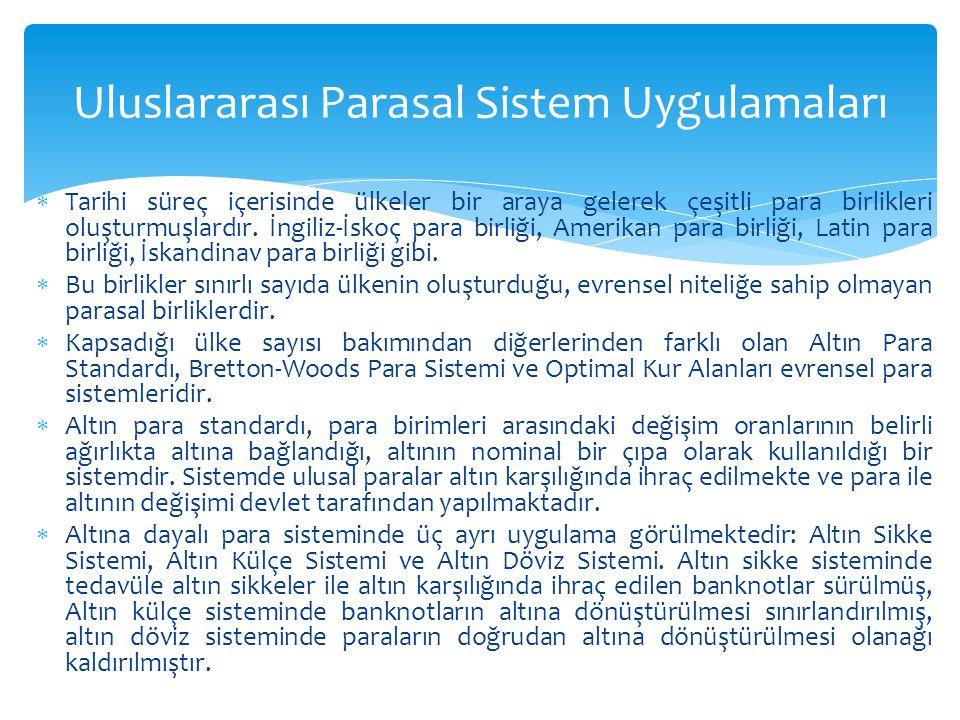 Uluslararası Parasal Sistem Uygulamaları