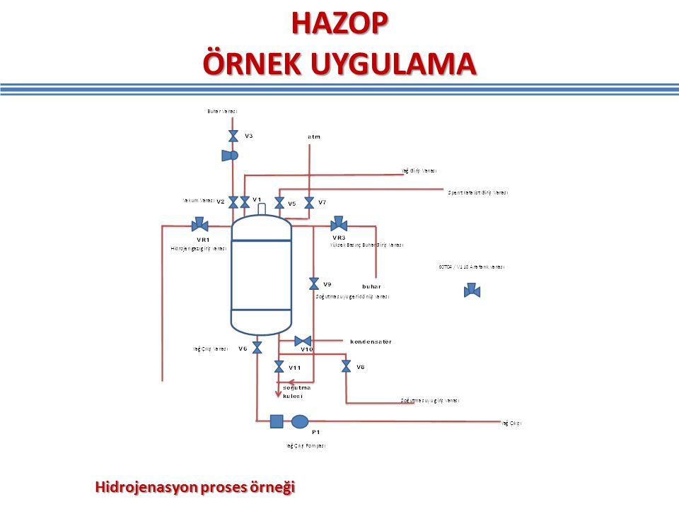 HAZOP ÖRNEK UYGULAMA Hidrojenasyon proses örneği