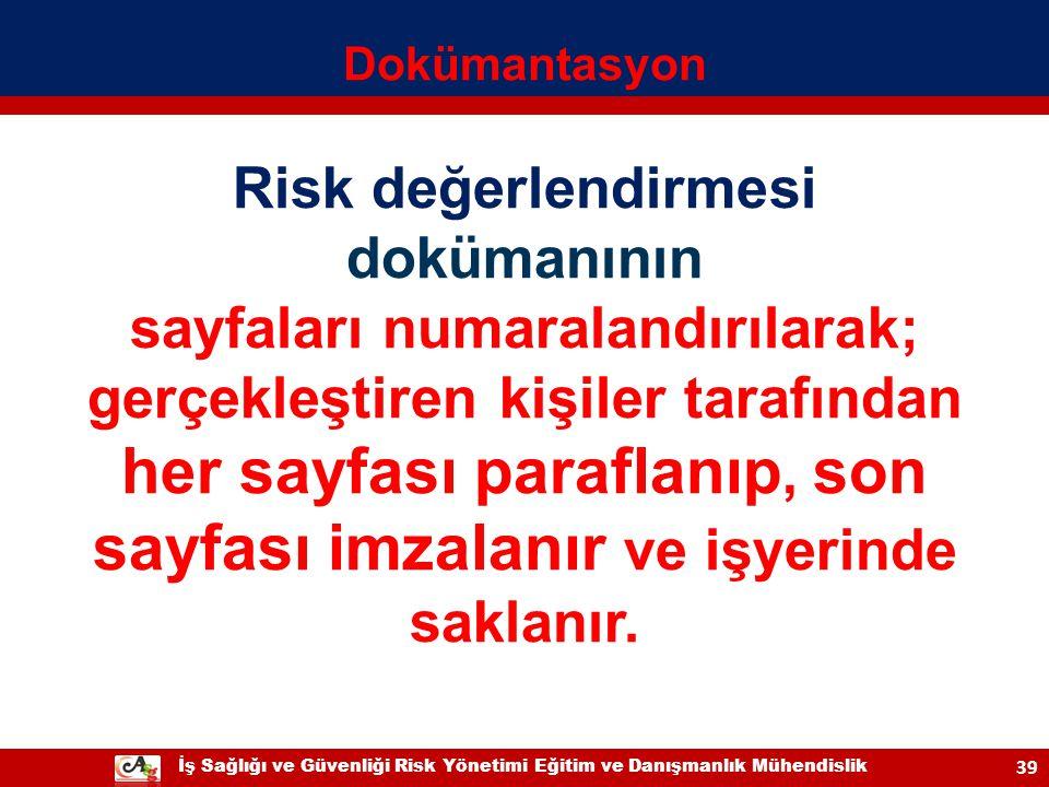 Risk değerlendirmesi dokümanının