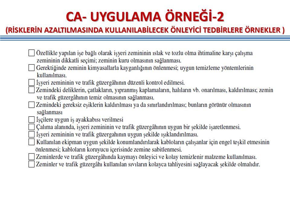 CA- UYGULAMA ÖRNEĞİ-2 (RİSKLERİN AZALTILMASINDA KULLANILABİLECEK ÖNLEYİCİ TEDBİRLERE ÖRNEKLER )