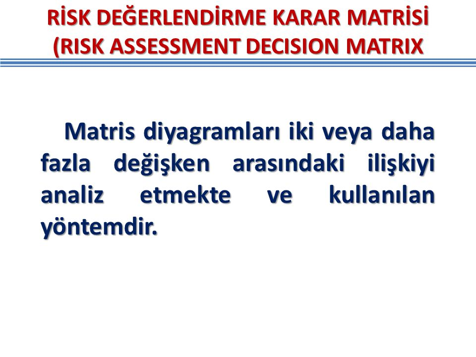 RİSK DEĞERLENDİRME KARAR MATRİSİ (RISK ASSESSMENT DECISION MATRIX