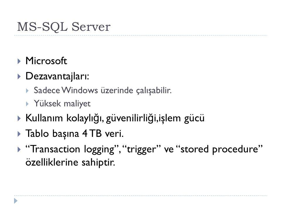 MS-SQL Server Microsoft Dezavantajları: