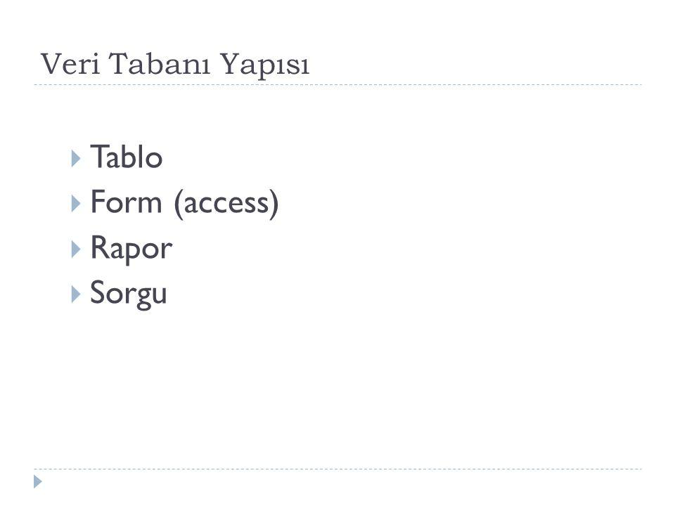 Veri Tabanı Yapısı Tablo Form (access) Rapor Sorgu