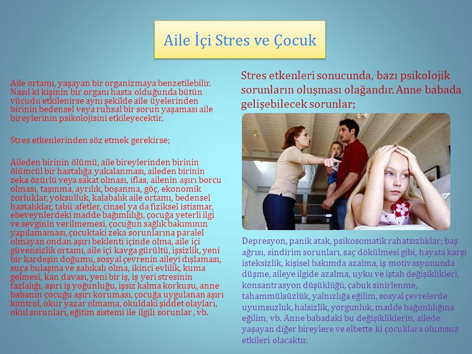 Aile İçi Stres ve Çocuk Stres etkenleri sonucunda, bazı psikolojik sorunların oluşması olağandır. Anne babada gelişebilecek sorunlar;