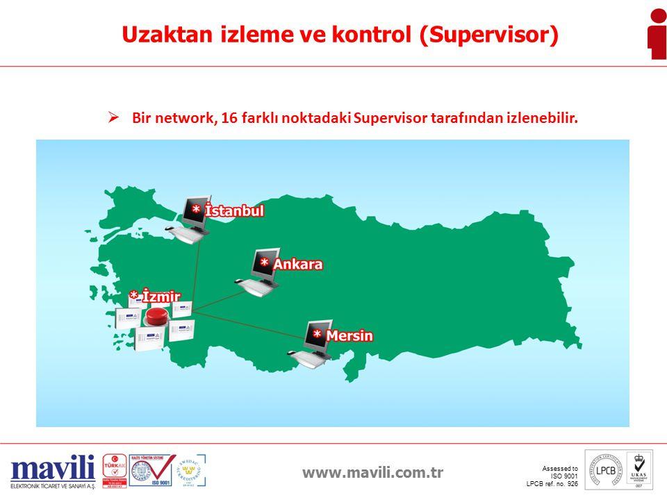 Bir network, 16 farklı noktadaki Supervisor tarafından izlenebilir.