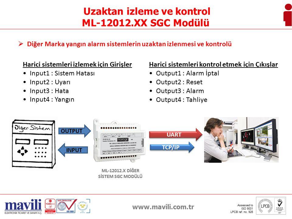 Uzaktan izleme ve kontrol ML-12012.X DİĞER SİSTEM SGC MODÜLÜ