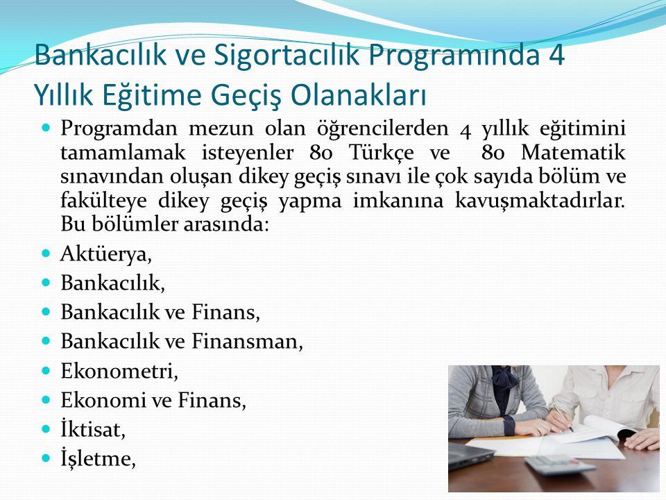 Bankacılık ve Sigortacılık Programında 4 Yıllık Eğitime Geçiş Olanakları