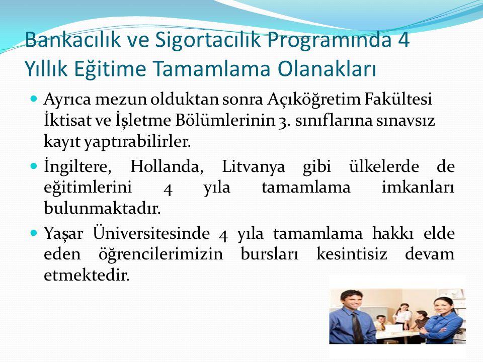 Bankacılık ve Sigortacılık Programında 4 Yıllık Eğitime Tamamlama Olanakları